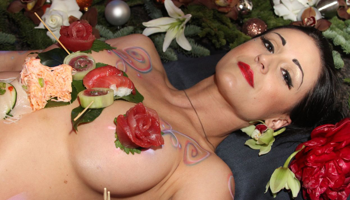 New Orleans Nightlife, Sushi Served On Naked Brunette Photo - The Penthouse Club